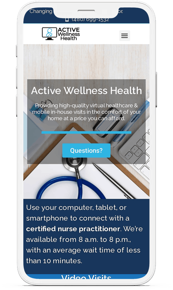 medical website design on cell phone