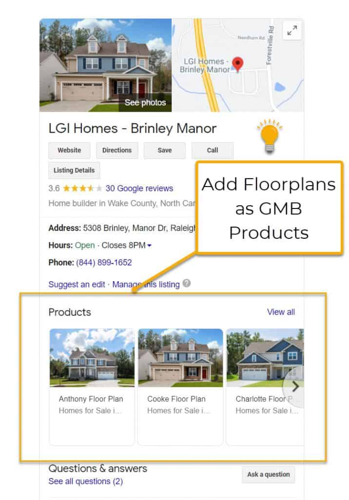 GMB Homebuilder Floor Plans As Products