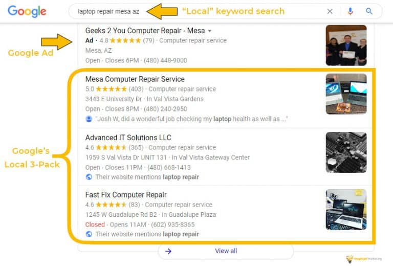 Local search result with google 3 pack and an ad