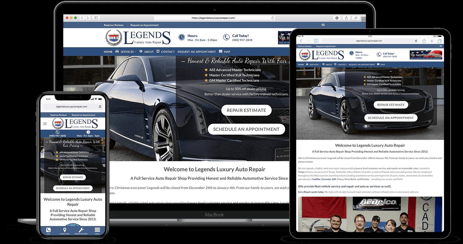 Auto Repair & Sales Website Designs