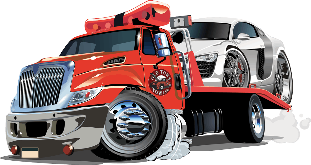 Hybrid SEO graphic design of a tow truck