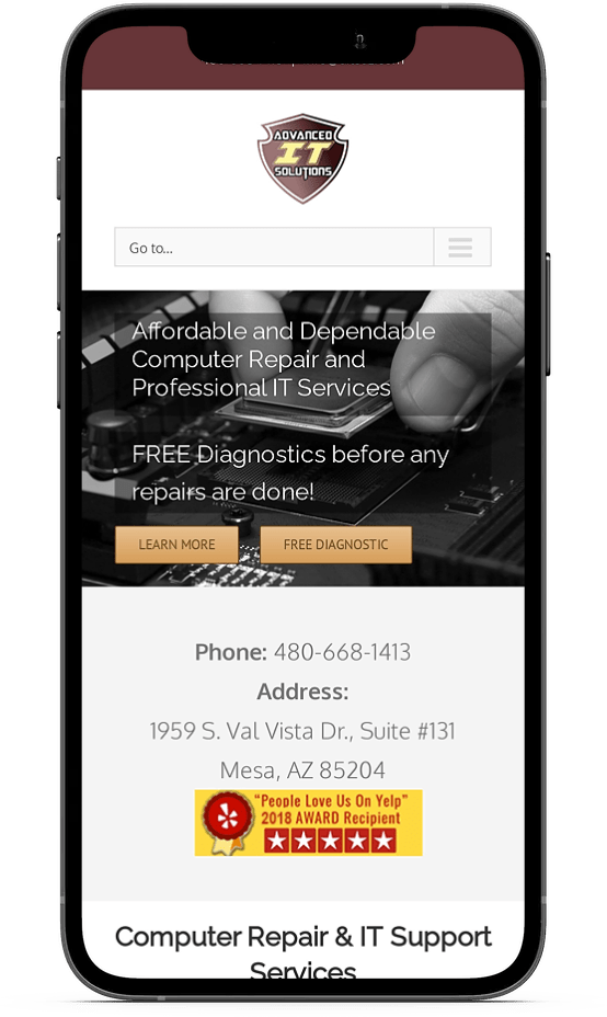 advanced it solutions website on mobile