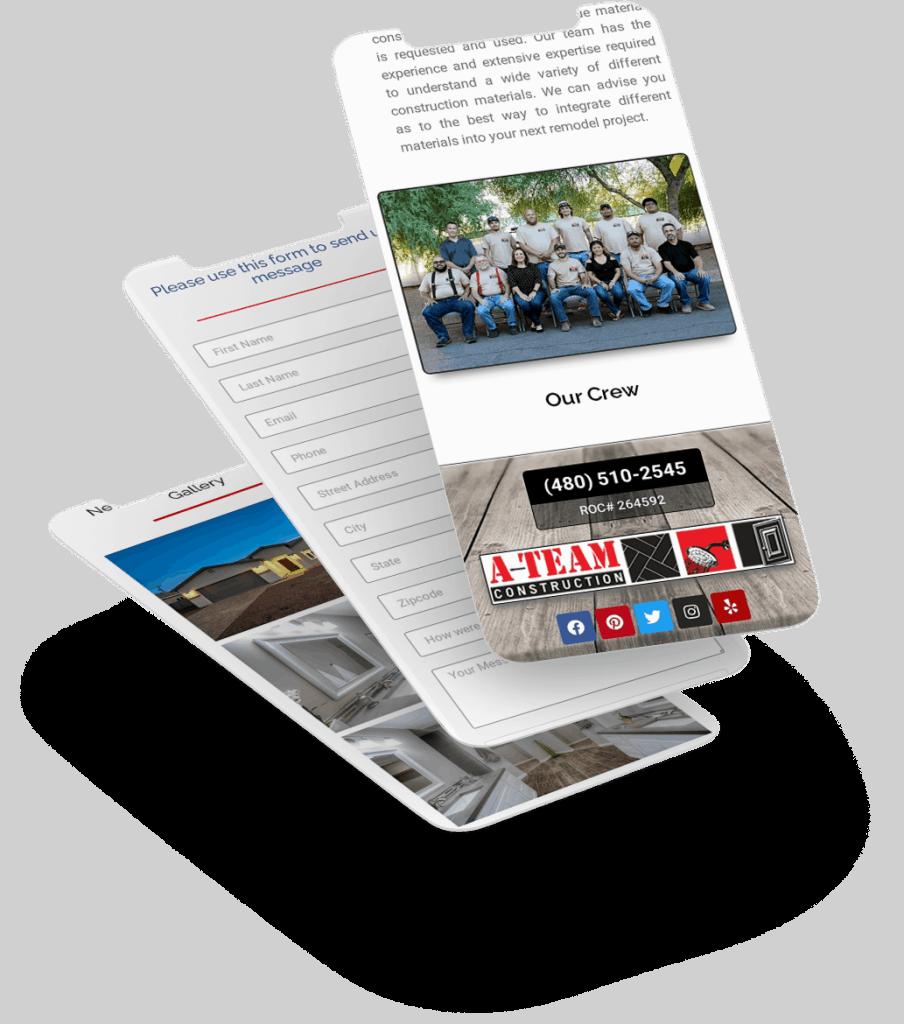 Ateam Website Mobile Screens