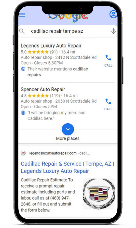 small business local search result screenshot