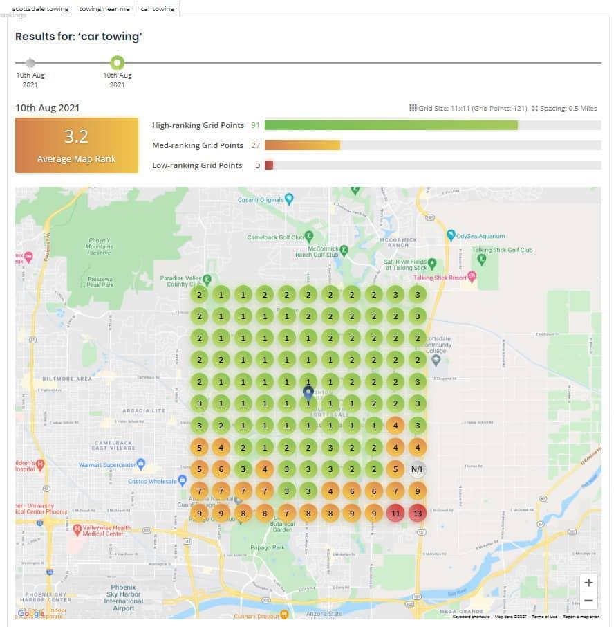 Car Towing Ranking Map Grid