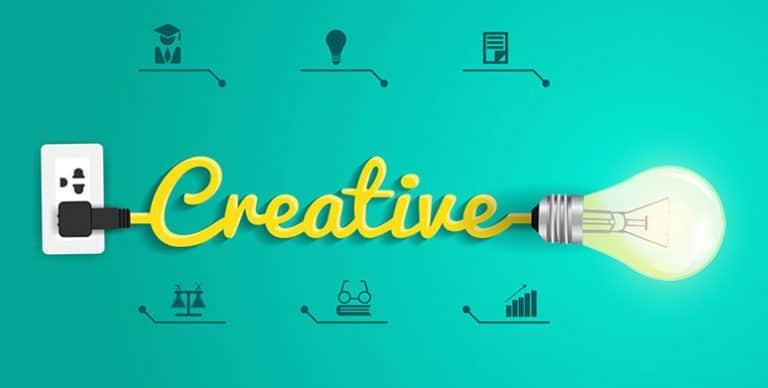 creative text with lightbulb