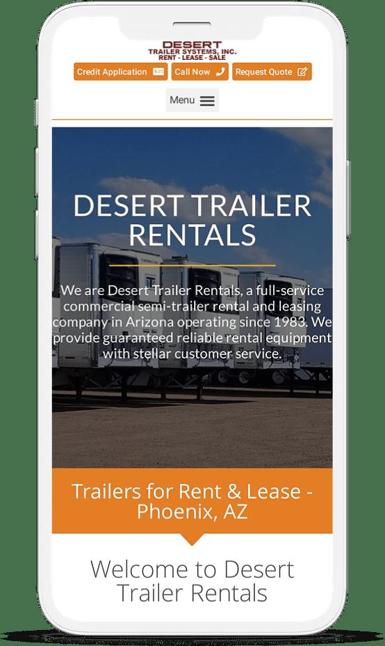 Desert Trailer Website On Iphone