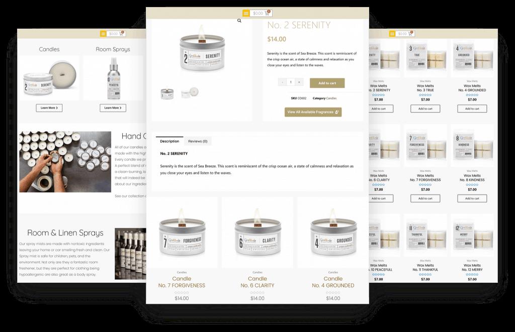 ECommerce Website Gratitude Candles