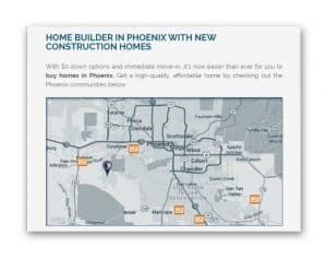 Homebuilder Regional Page Map of communities with homes for sale