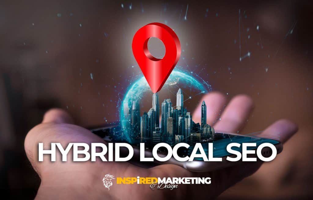 Hybrid Local SEO Marketing concept with cell phone, city and map pin