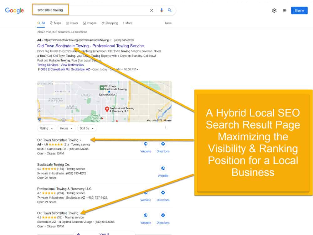 Hybrid Local SEO Search Result Page