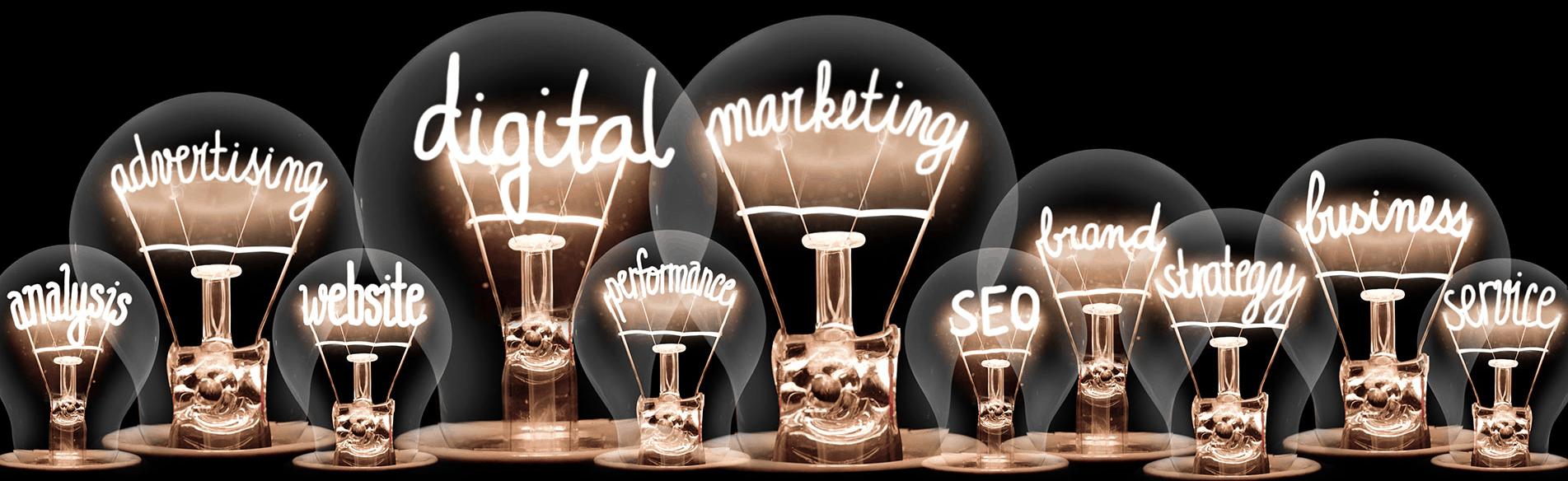 lightbulbs with digital marketing terms