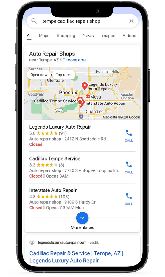 local search result for cadillac repair