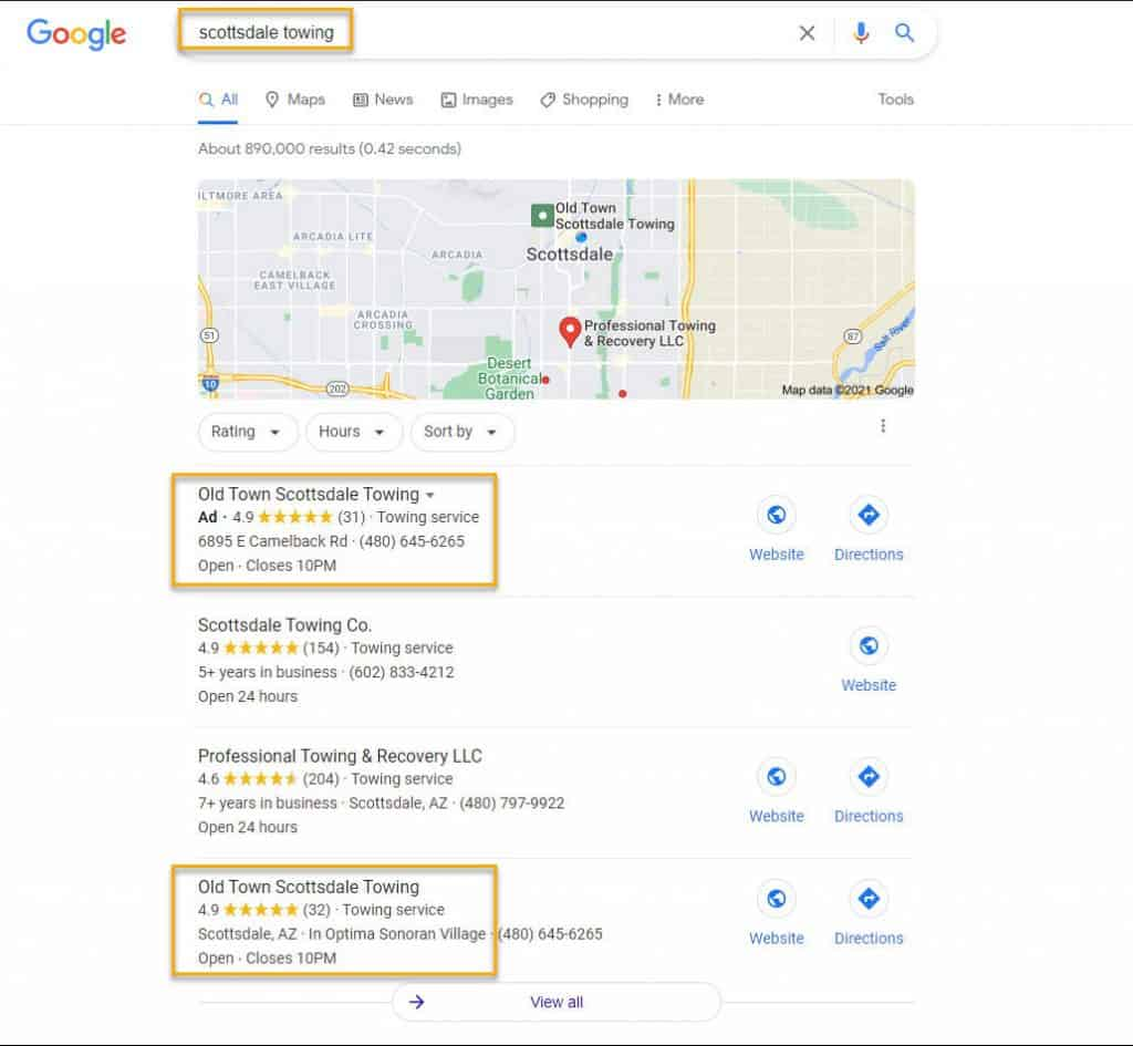 Local Search Result Page Scottsdale Az