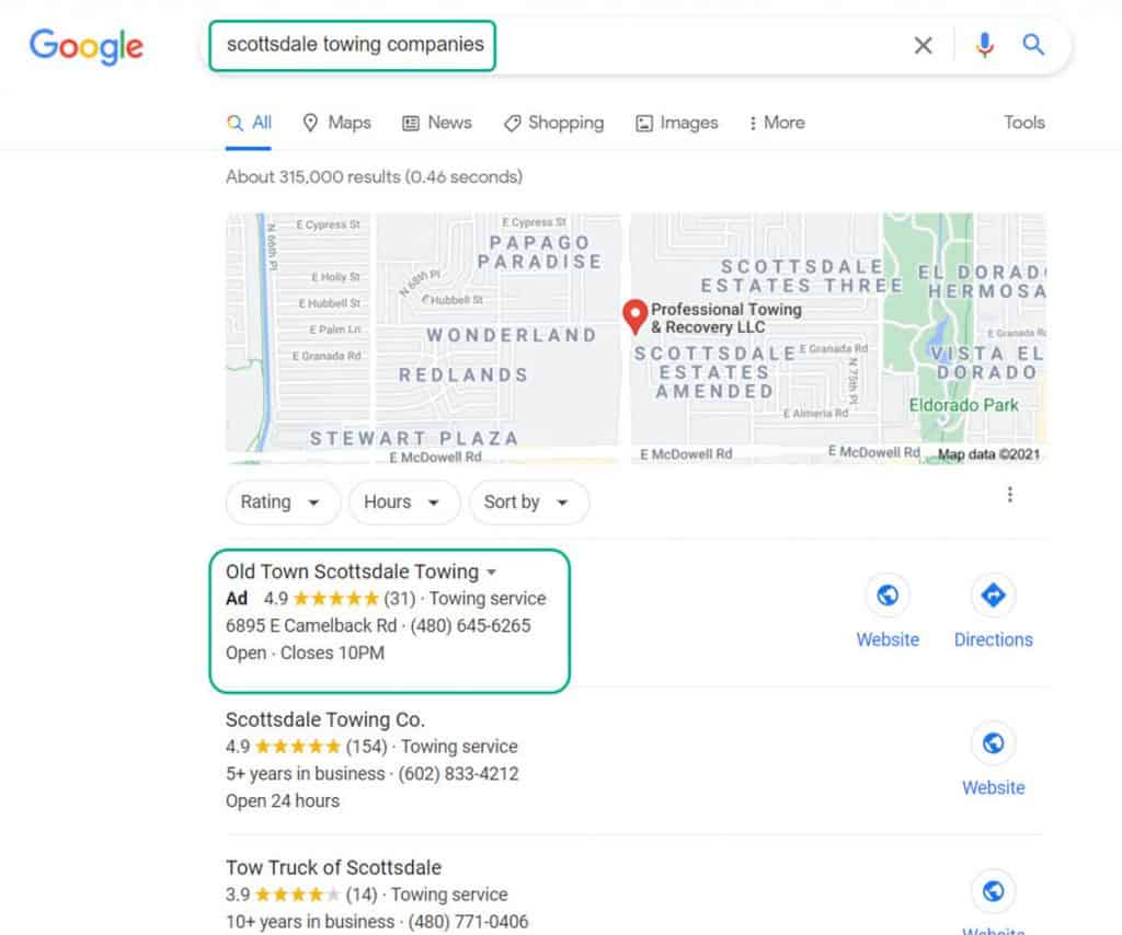 Local Search Result With Paid Ad