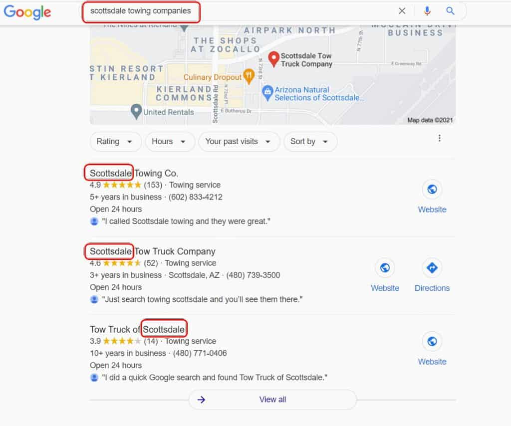 Scottsdale Towing Companies Local Search Result
